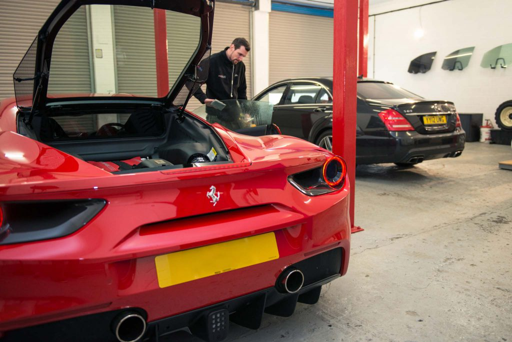 Paint Protection Film fitted on a Ferrari F488 by Expression Automotive in Baildon
